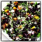 Roasted beets with microgreens and goat cheese