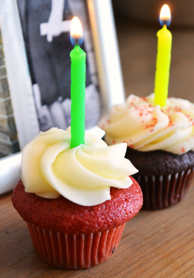 Looking for birthday cake ideas? Try red velvet cupcakes!