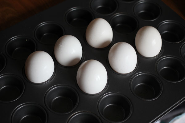 "1. Make ""hard boiled"" eggs in bulk in the oven the night before."