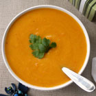 Carrot, sweet potato and red lentil soup with orange and ginger