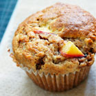 Fresh peach bran muffins