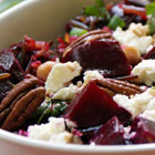 Roasted beet salad with wild rice, goat cheese and chickpeas