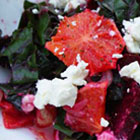 Roasted beet salad with oranges, beet greens and goat cheese